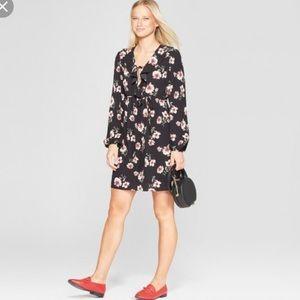 Xhilaration Long-Sleeve Tie-Front V-Neck Dress